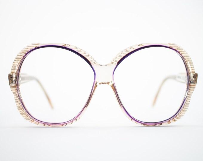 70s Vintage Eyeglasses | Clear Purple 1970s Oversized Round Glasses | NOS Eyeglass Frame | Deadstock Vintage Eyewear - Torino 1