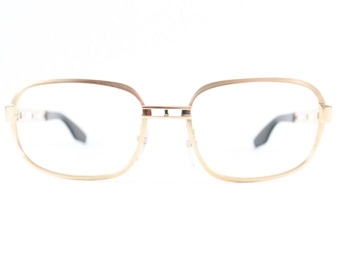 Vintage 70s Eyeglasses | 1970s Gold Cutout Square Glasses | NOS Eyeglass Frame | Deadstock Eyewear - AO32