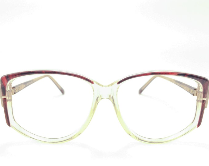 80s Vintage Eyeglasses | Guy LaRoche Clear Oversized Eyeglass Frame with Burgundy and Gold Accent | NOS 1980s Glasses - Gabriel