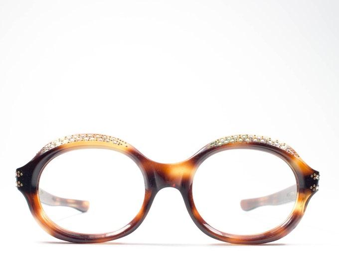 60s Eyeglasses | Vintage Glasses | Round Tortoise Eyeglass Frame | 1960s Deadstock Eyewear - Erma Decor