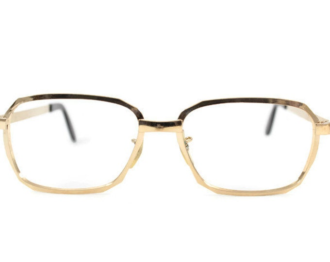 Vintage 1970s Shiny Gold Aviator Eyeglass Frame - Hipster Yellow