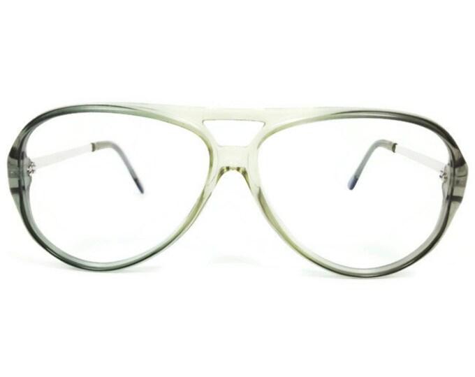 80s Vintage Glasses | NOS Aviator Eyeglass Frame | Clear Grey Oversize Eyeglasses - January