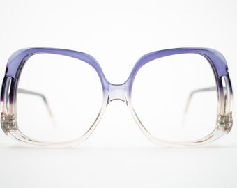 70s Vintage Eyeglass Frame | NOS 1970s Clear Blue and Pink Glasses | Oversized Eyeglasses | Deadstock Eyewear  - Oslo Navy Blue and Pink