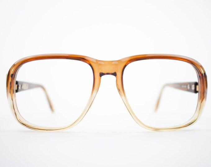 Vintage 70s Aviator Eyeglasses | Clear Brown Aviator Glasses | NOS 1970s Aviator Eyeglass Frame | Deadstock Eyewear  - Hanover Brown Fade