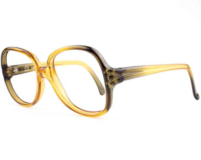 Vintage 70s Eyeglasses | Clear Oversized Glasses | NOS Optyl 1970s Amber and Olive Eyeglass Frame | Deadstock Eyewear - Rushen