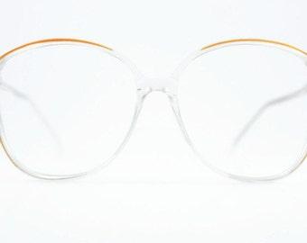 Vintage 1980s Glasses   Clear Oversized Round Eyeglass Frame   80s NOS Eyeglasses - Sierra