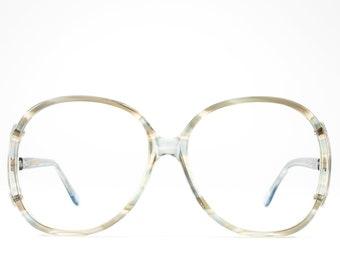 Vintage 80s Glasses   Big Eyeglasses   1980s Oversized Glasses Frames   Blue Clear Eyeglass Frame - Regal Blue