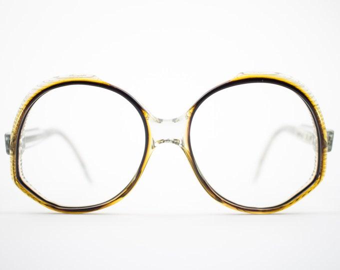 Vintage Eyeglasses | 70s Clear Black and Purple Glasses | 1970s Oversized Round Eyeglass Frame | Etched Design - Ravenna 3