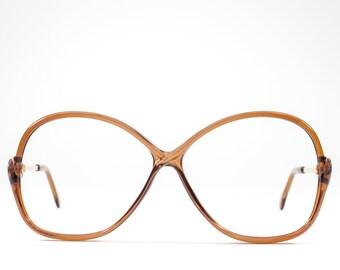 Vintage 80s Eyeglasses   Clear Brown 1980s Glasses   Oversized Eyeglass Frame   Eighties Deadstock Eyewear - July Brown