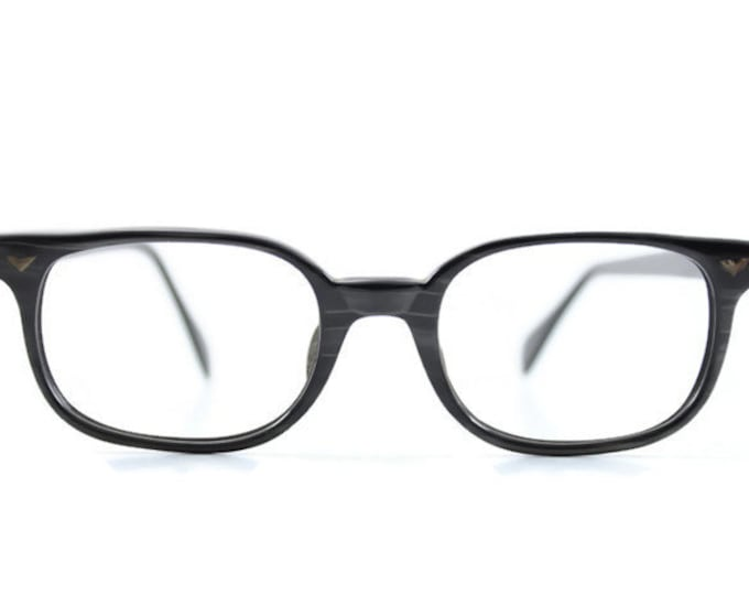 60s Vintage Eyeglasses | 1960s Opalescent Black and Grey Horn-Rimmed Glasses | NOS Eyeglass Frame | Deadstock Eyewear - Elwood