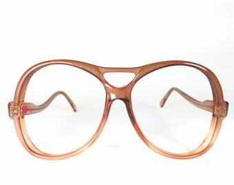 70s Vintage Aviator Glasses   Orange Oversized Round Aviator Eyeglasses   NOS 1970s Eyeglass Frame   Vintage Deadstock Eyewear - Maritza