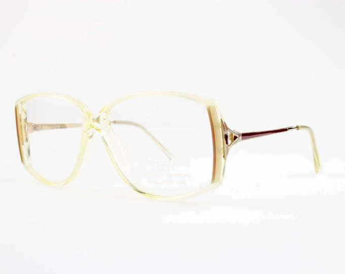 Vintage 1980s Eyeglasses | Clear Horn Rimmed 80s Glasses | NOS Eyeglass Frame | Deadstock Eyewear - Calypso XX