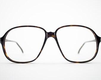 80s Vintage Glasses | Oversized Dark Tortoiseshell Eyeglass Frame | 1980s NOS Eyeglasses - Pisa 3627