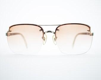 Vintage 70s Sunglasses   1970s Gold Aviator Sunglasses   NOS Sunglasses with Peach Lenses   Deadstock Vintage Eyeglasses - October II Peach