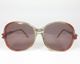 Vintage 1970s Rose Pink Ombre Round Oversized Sunglasses - Sarah XX