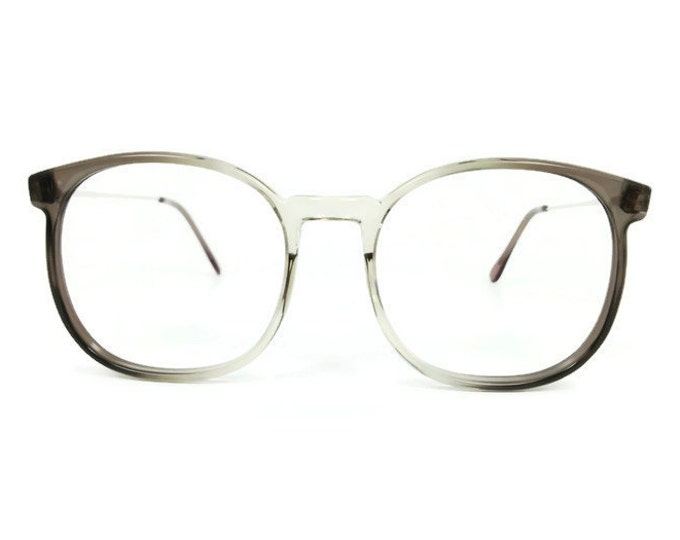 80s Vintage Glasses | Clear Grey Round Oversized Eyeglass Frame | NOS 1980s Eyeglasses - March Grey