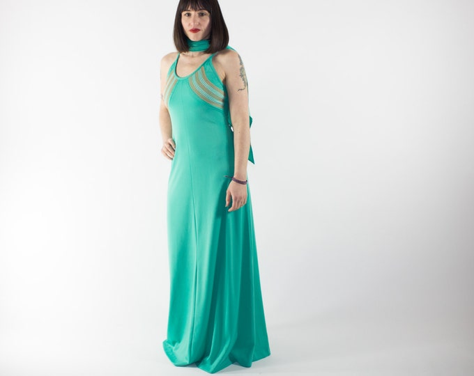 Vintage Dress | Green 70s Dress and Scarf Combo | Summer Resort Gown