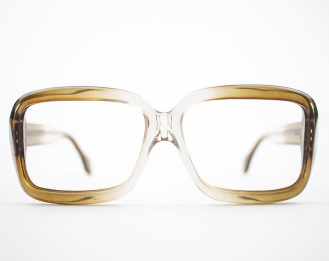 70s Vintage Eyeglasses | Oversized Clear Brown Fade Glasses | NOS 1970s Square Eyeglass Frame | Deadstock Eyewear  - Pueblo Brown Fade