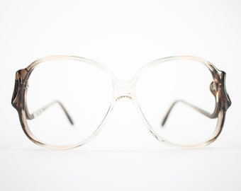 Vintage 70s Glasses | Clear Brown Oversized Eyeglass Frame | NOS 1970s Round Eyeglasses | Deadstock Eyewear  - Riga 2