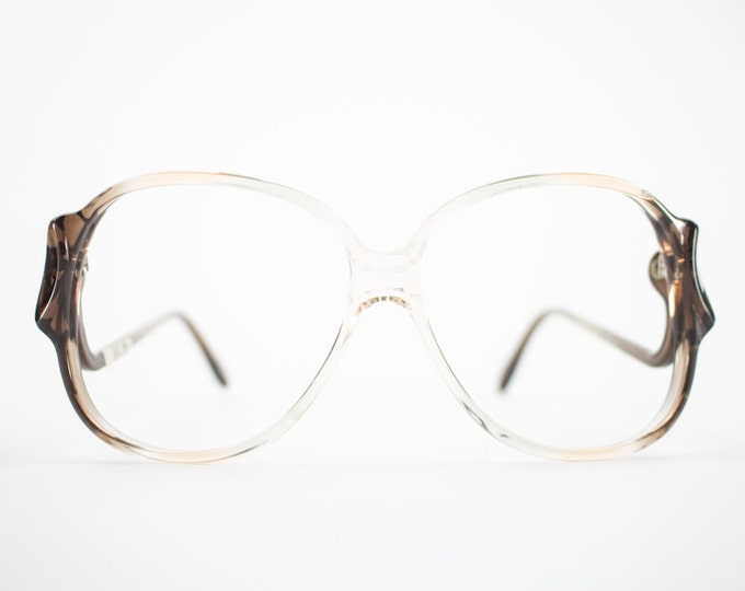 Vintage 70s Glasses | Clear Brown Oversized Eyeglass Frame | NOS 1970s Round Eyeglasses | Deadstock Eyewear  - Riga 2