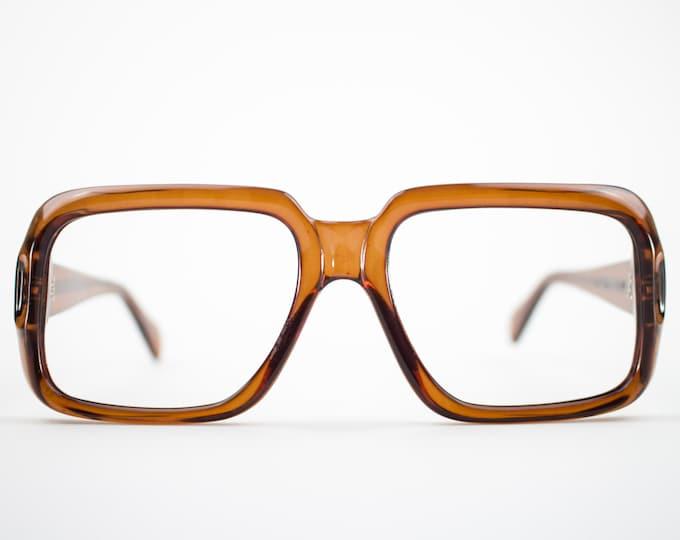 Vintage 70s Glasses | NOS Clear Brown Eyeglass Frame | 1970s Square Eyeglasses | Deadstock Eyewear  - Denver Dark Brown