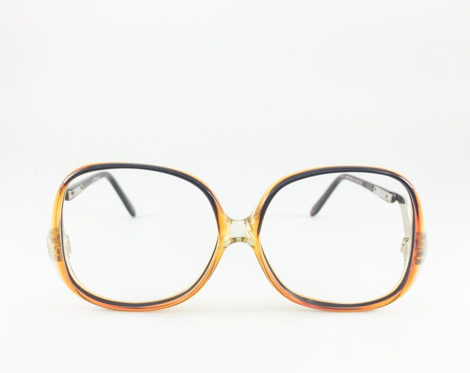 Vintage 80s Glasses | Sergio Valente Oversized Round Eyeglass Frame | NOS Black and Amber Ombre 1980s Eyeglasses - Deanna XX
