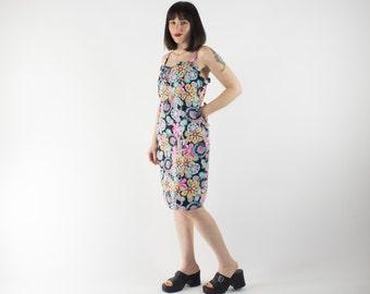 Vintage Dress   90s Psychedelic Floral Pattern   Summer Dress