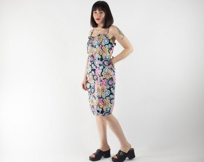 Vintage Dress | 90s Psychedelic Floral Pattern | Summer Dress