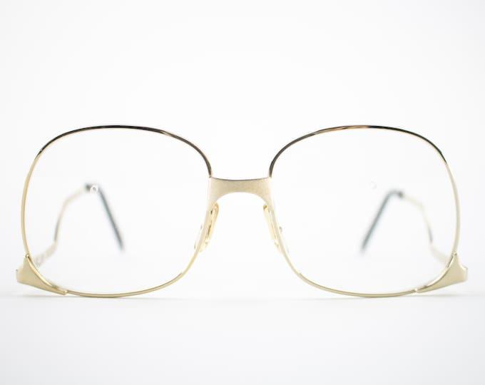 Vintage 70s Glasses | Gold Oversized Eyeglass Frame with Demo Lenses | NOS 1970s Round Eyeglasses | Vintage Deadstock Eyeglasses - Whet Gold