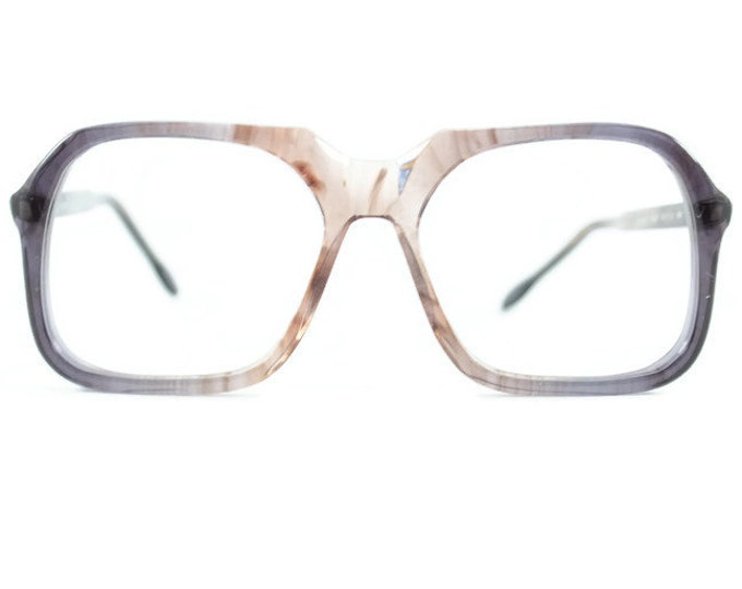 Vintage 70s Glasses | Clear Smoky Grey Oversize Square Eyeglass Frame | 1970s NOS Eyeglasses | Deadstock Eyewear  - Tony Smoke