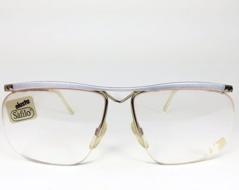 Vintage 80s Glasses | NOS Silver and Gold Pyramid Stud Eyeglass Frame with Rose Demo Lenses | 1980s Eyeglasses - Portfolio 219