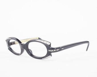 60s Vintage Cateye Eyeglasses | 1960s Spex Crystal Black Geometric Glasses | NOS Eyeglass Frame | Deadstock Eyewear - Greta