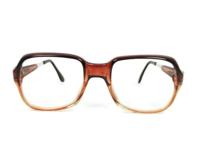 Vintage 70s Eyeglasses | Clear Brown Square Glasses | NOS 1970s Aviator Eyeglass Frame | Deadstock Eyewear - Bristol