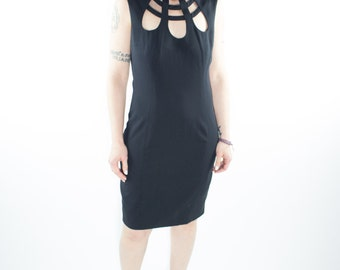 Vintage Dress | 90s Sleeveless Cutout | Goth Dress | 1990s Club Kid Size 6