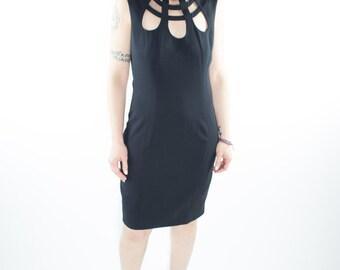Vintage Dress   90s Sleeveless Cutout   Goth Dress   1990s Club Kid Size 6