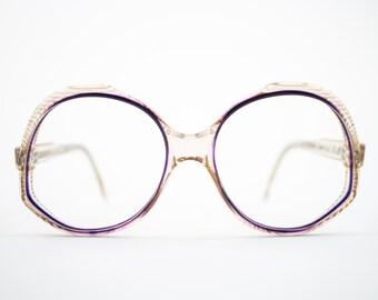 70s Vintage Glasses | Clear Purple 1970s Oversized Round Eyeglasses | NOS Eyeglass Frame | Deadstock Vintage Eyewear - Ravenna 1