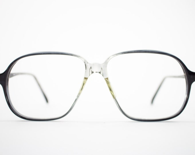 Vintage Eyeglass Frame | Oversized Clear Grey Fade | 80s Aviator Glasses Frames | Vintage Deadstock | Nerd Glasses  - Pisa 21770