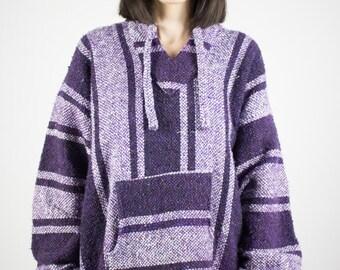 Vintage Poncho   90s Purple Hoodie   Soft Striped Hooded Jacket