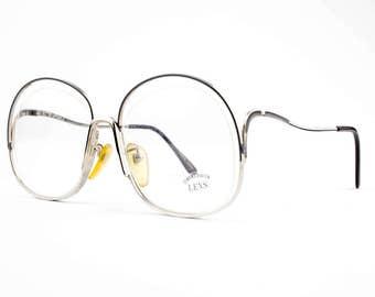Vintage 70s Eyeglasses   Oversized Round Glasses   NOS 1970s Silver and Grey Eyeglass Frame   Deadstock Eyewear - Hi Society XX
