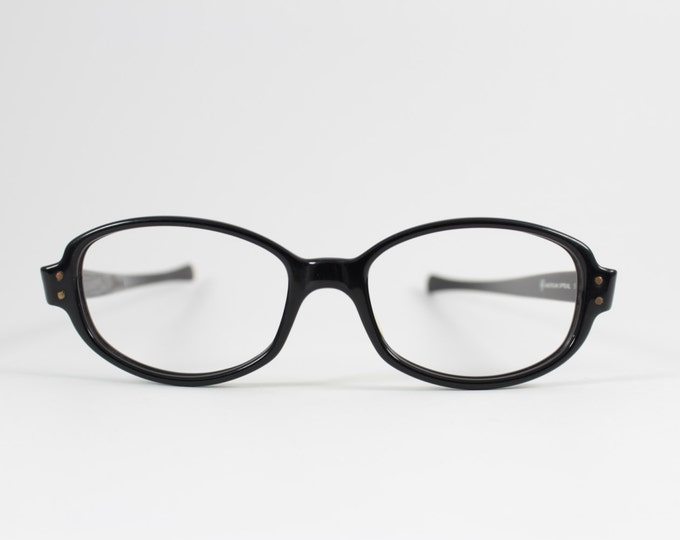 Vintage 60s Eyeglasses | 1960s American Optical Black Oval Horn-Rimmed Glasses | NOS Eyeglass Frame | Deadstock Eyewear - Elusive