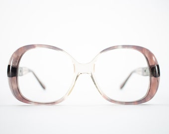 60s Vintage Eyeglasses | 1960s Mod Clear Plum Oversized Round Glasses | NOS Eyeglass Frame | Deadstock Eyewear - Embrace Plum