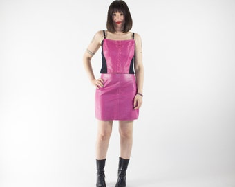 Vintage Leather Crop Corset Top and Skirt Combo | Leather Biker Babe | 90s Day Glo Pink Club Kid Fashion