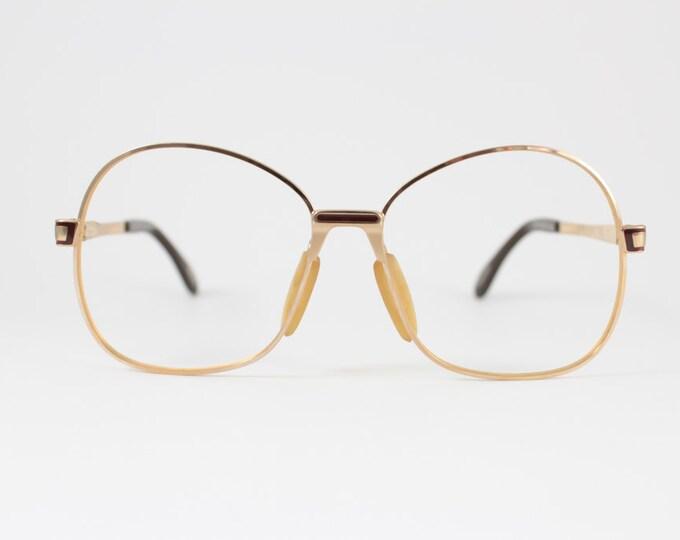 Vintage 80s Glasses | 1980s Zeiss Gold Round Oversized Eyeglass Frame | NOS Eyeglasses - Portrait XX