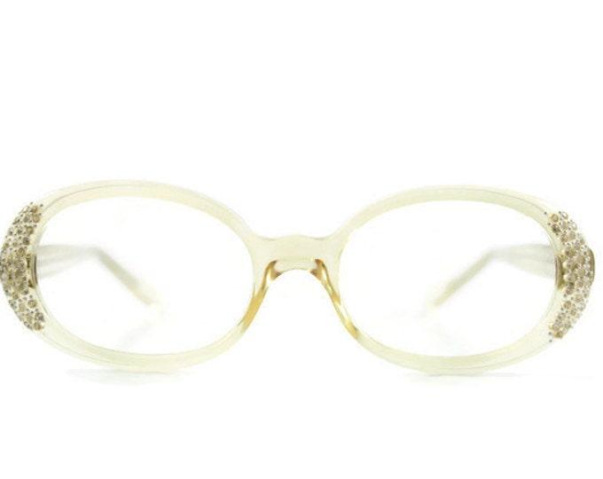60s Vintage Cateye Eyeglasses | 1960s Petite Clear Round Cateye Glasses | NOS Eyeglass Frame | Deadstock Eyewear - Jaque