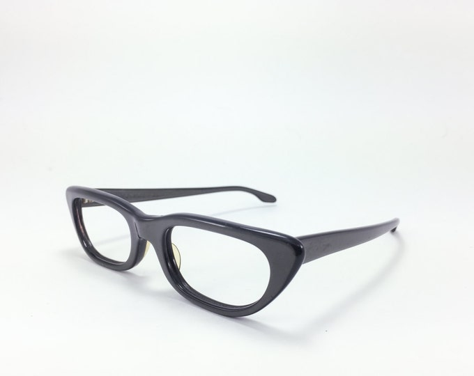Vintage 60s Eyeglasses | Artcraft Gunmetal Black Horn-Rimmed Cateye Glasses | NOS Eyeglass Frame | Deadstock Eyewear - Navarone