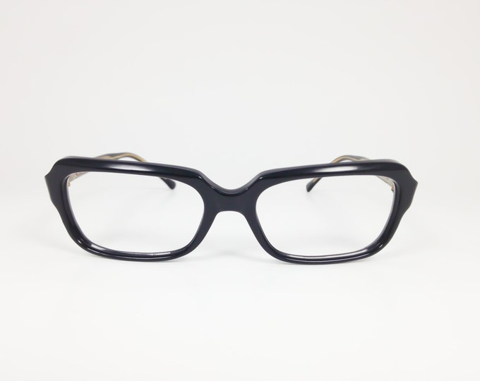 Vintage 1960s Eyeglasses | 60s Black Horn-Rimmed Glasses | NOS Eyeglass Frame | Deadstock Eyewear - Cylia