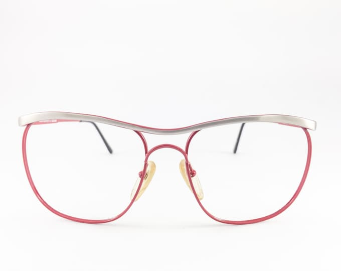 Vintage 80s Glasses | Red Oversized Browline Eyeglass Frame | NOS 1980s Eyeglasses - Centaurion