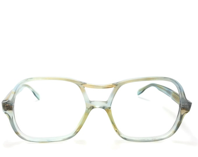 70s Vintage Aviator Glasses | Clear Blue and Brown Aviator Eyeglass Frame | NOS 1970s Eyeglasses | Vintage Deadstock Eyewear  - Dolly
