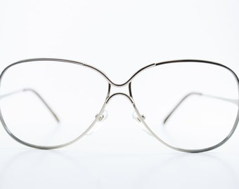 Vintage 80s Glasses | Silver and Blue Metal Eyeglass Frame | NOS 1980s Oversized Eyeglasses - Love Lace