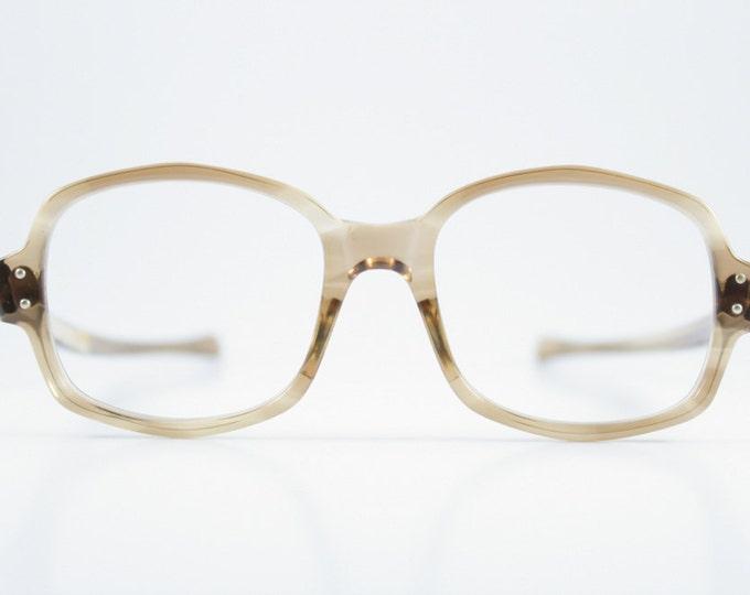 Vintage 1960s American Optical Translucent Olive Geometric Oval Horn-Rimmed Eyeglass Frame